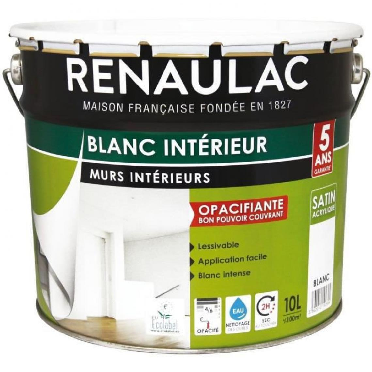 Renaulac RENAULAC Peinture interieur Murs + Plafonds Bicouche Acrylique Blanc - Satin - 10L - 100m2 / pot