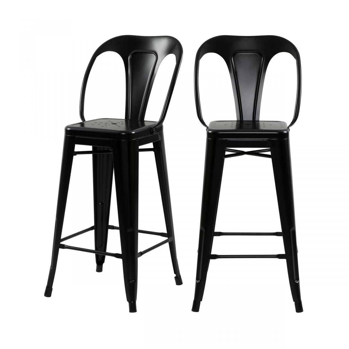 Rendez Vous Deco Chaise de bar mi-hauteur Indus noir mat 66 cm (lot de 2)