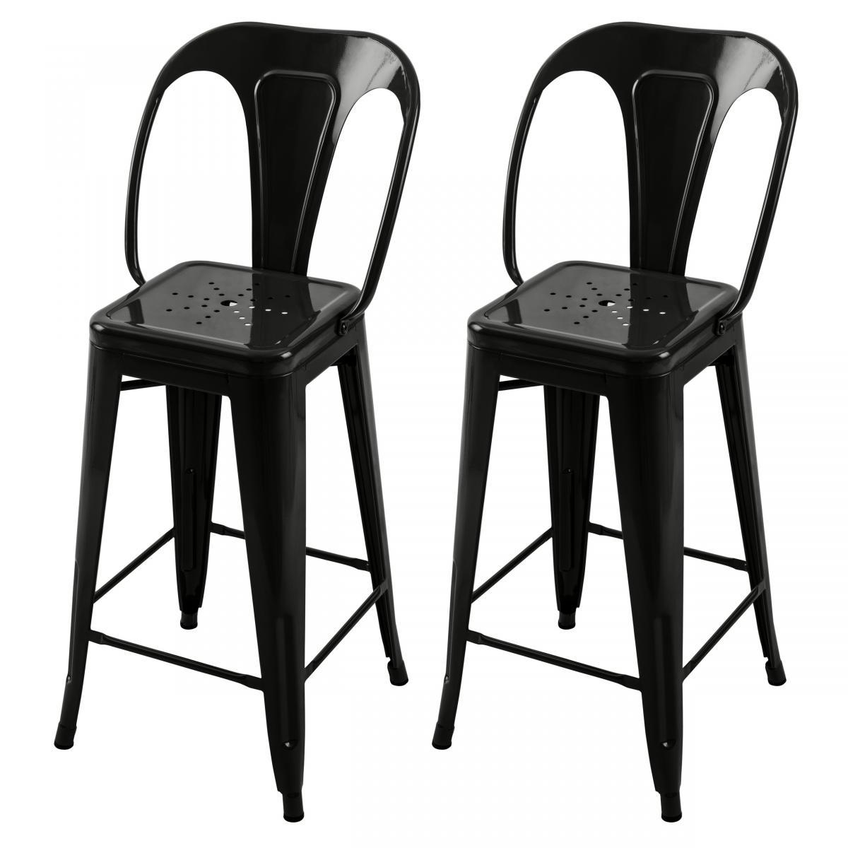 Rendez Vous Deco Chaise de bar mi-hauteur Indus noire 66 cm (lot de 2)