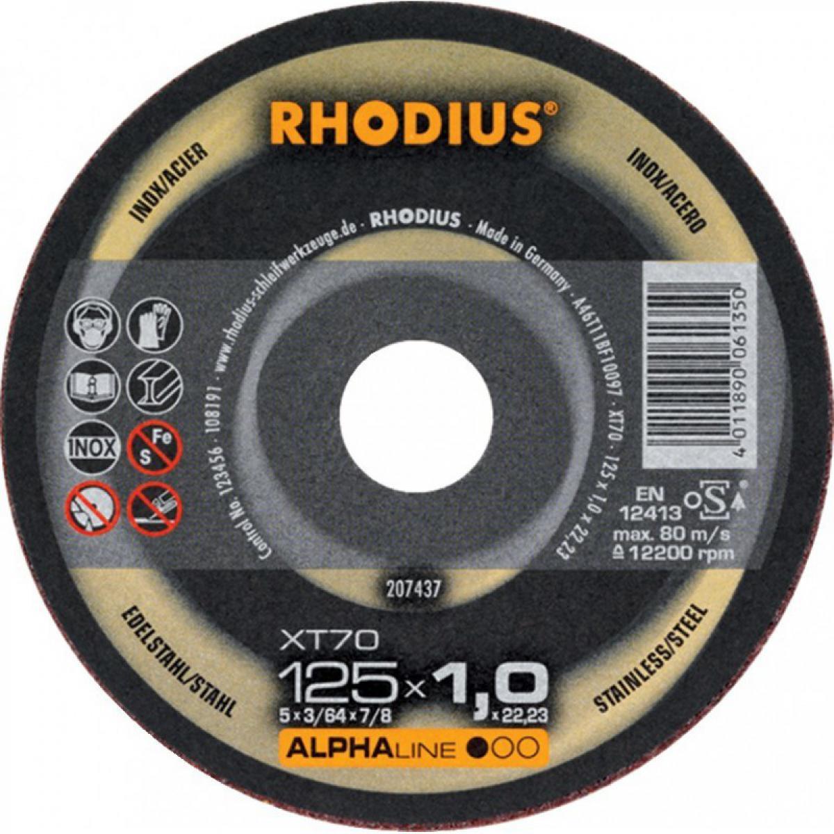 Rhodius Disque à tronconner acier / inox XT70 125 x 1,0mm ger. Rhodius