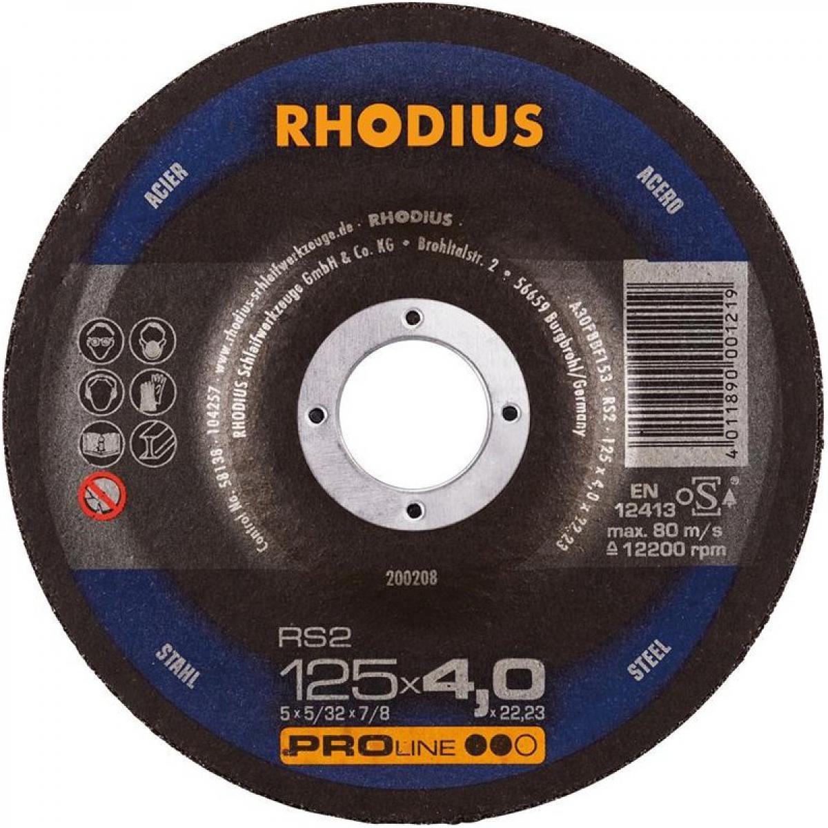 Rhodius Disque de coupe RS2 125 x 4,0mm Acier Rhodius(Par 25)