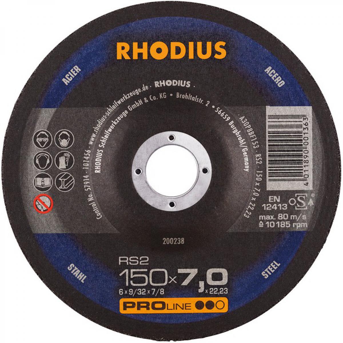 Rhodius Disque de coupe RS2 150 x 7,0mm Acier Rhodius(Par 10)