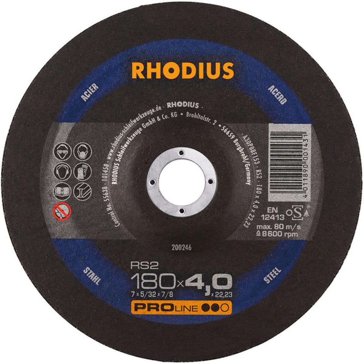 Rhodius Disque de coupe RS2 180 x 4,0mm Acier Rhodius(Par 10)