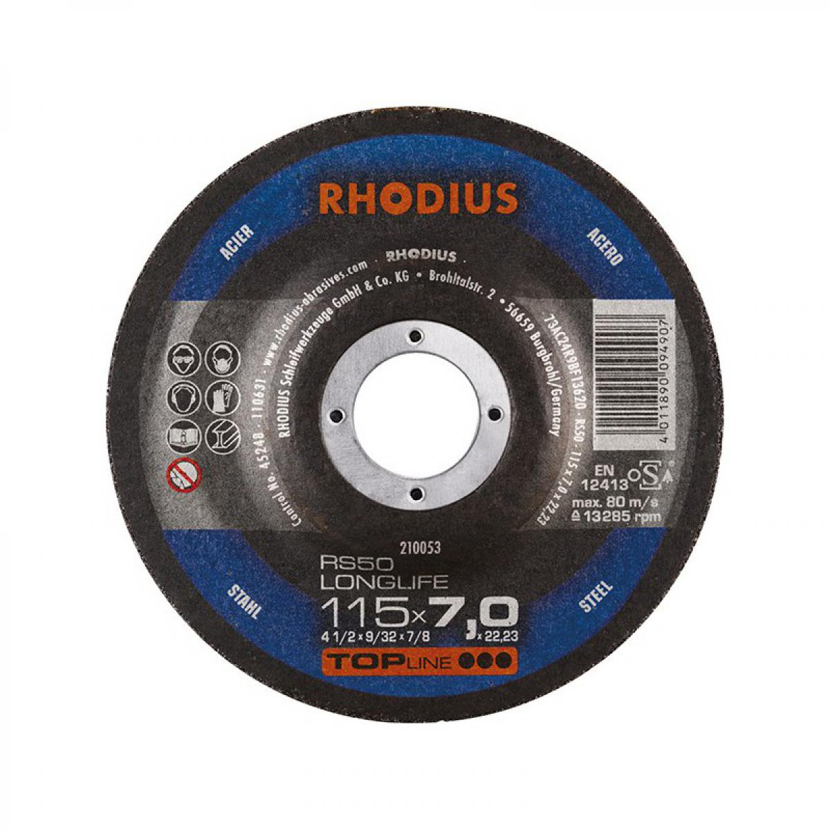 Rhodius Disque de coupe RS50 115 x 7,0mm Acier Rhodius(Par 25)
