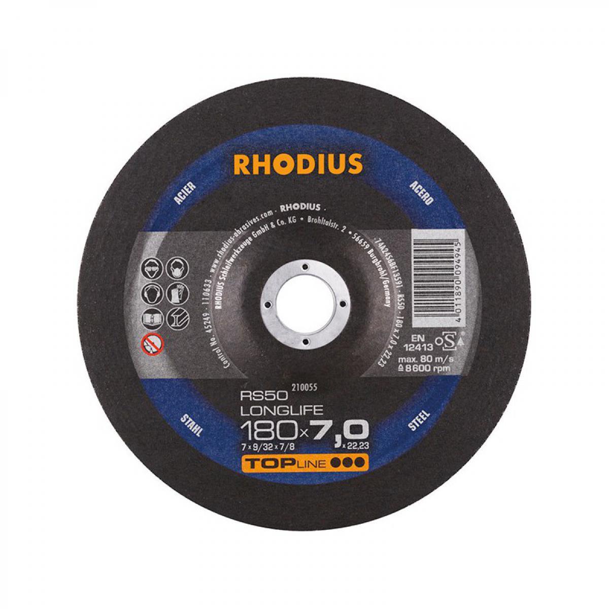Rhodius Disque de coupe RS50 180 x 7,0mm Acier Rhodius(Par 10)