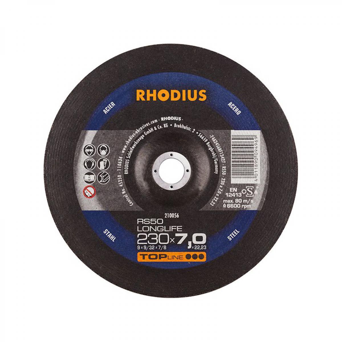 Rhodius Disque de coupe RS50 230 x 7,0mm Acier Rhodius(Par 10)