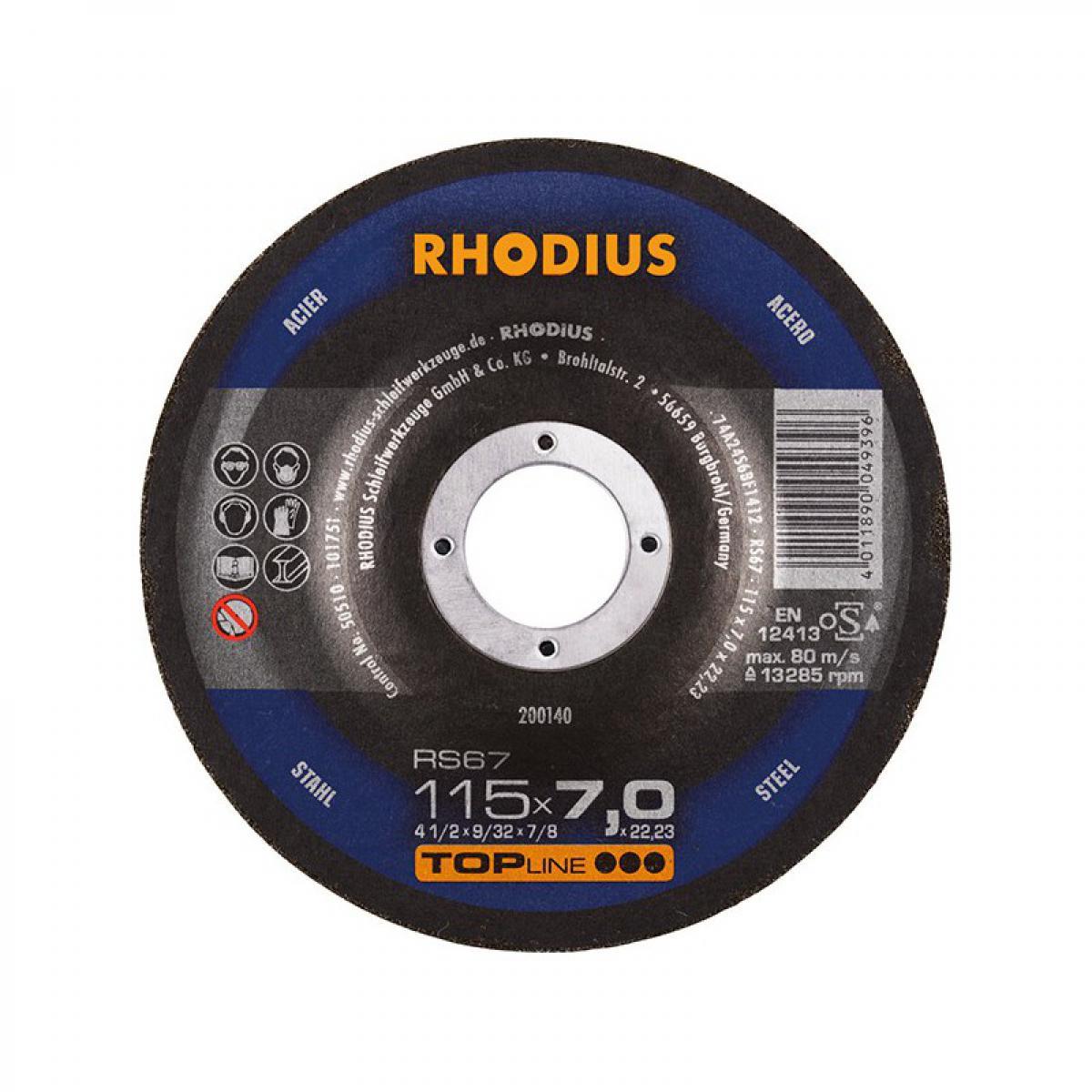 Rhodius Disque de coupe RS67 115 x 7,0mm Acier Rhodius(Par 25)