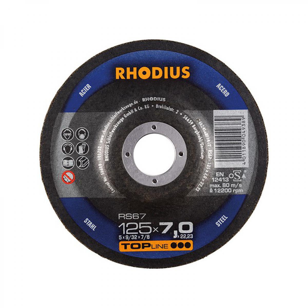 Rhodius Disque de coupe RS67 125 x 7,0mm Acier Rhodius(Par 25)