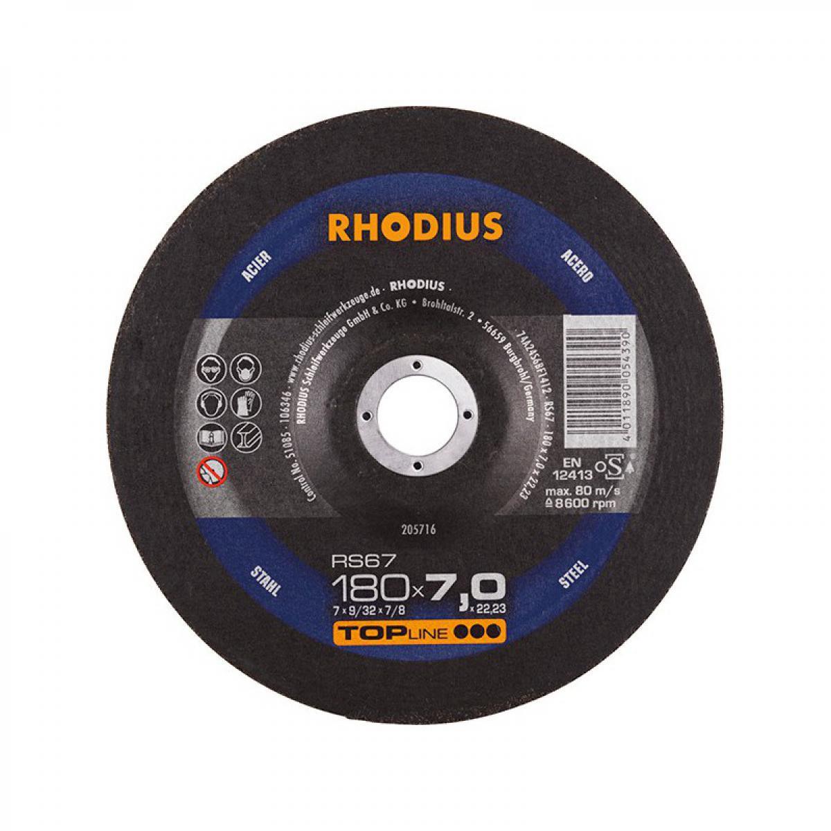 Rhodius Disque de coupe RS67 180 x 7,0mm Acier Rhodius(Par 10)