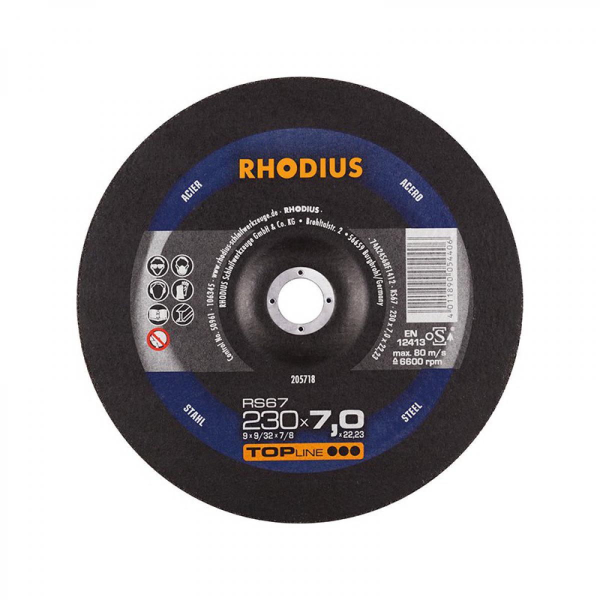 Rhodius Disque de coupe RS67 230 x 7,0mm Acier Rhodius(Par 10)
