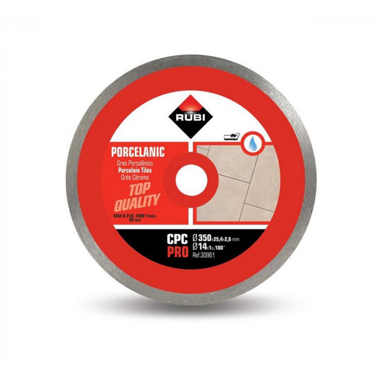 Rubi Rubi - Disque diamant pour grès porcelaine jante continue 350 mm x 25,4 mm CPC-350 PRO
