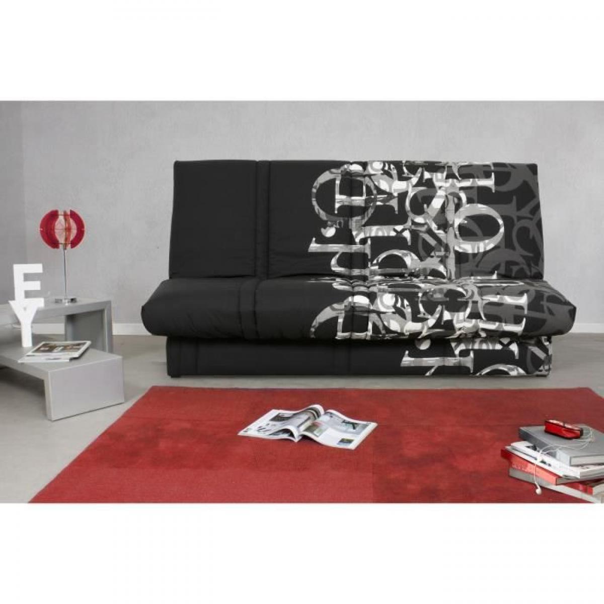 Sans Marque Banquette clic clac 120 x 190 cm - Tissu noir et blanc - L 195 x P 90 x H 84 cm - RANDY