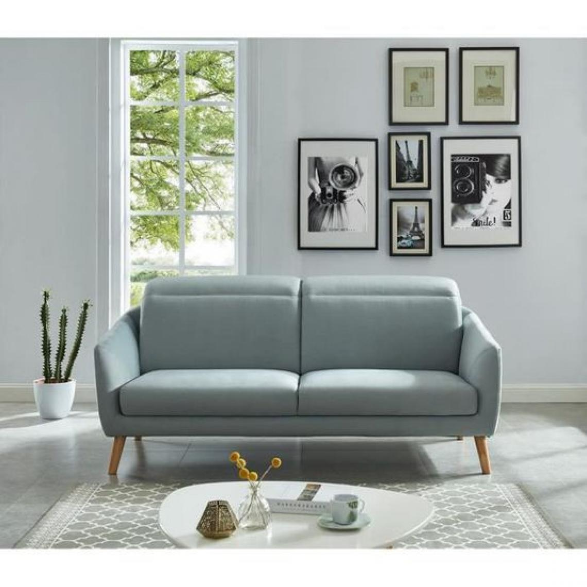 Sans Marque CADIX Canape droit 3 places - Tissu gris bleu - Contemporain - L 196 x P 94 x H 100 cm