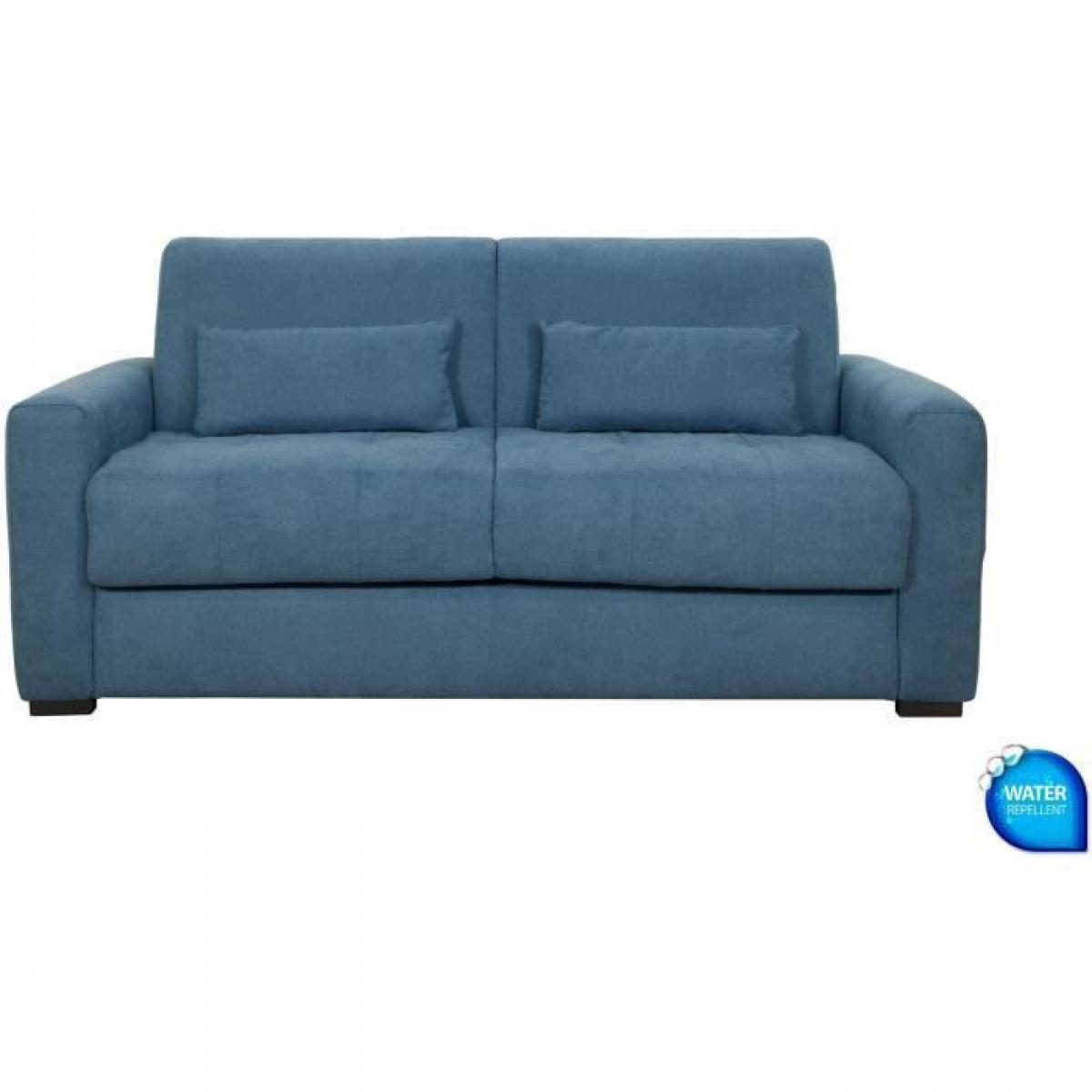 Sans Marque Canape 3 places convertible - Tissu Bleu - L204 x P102 x H95 cm - EUREKA
