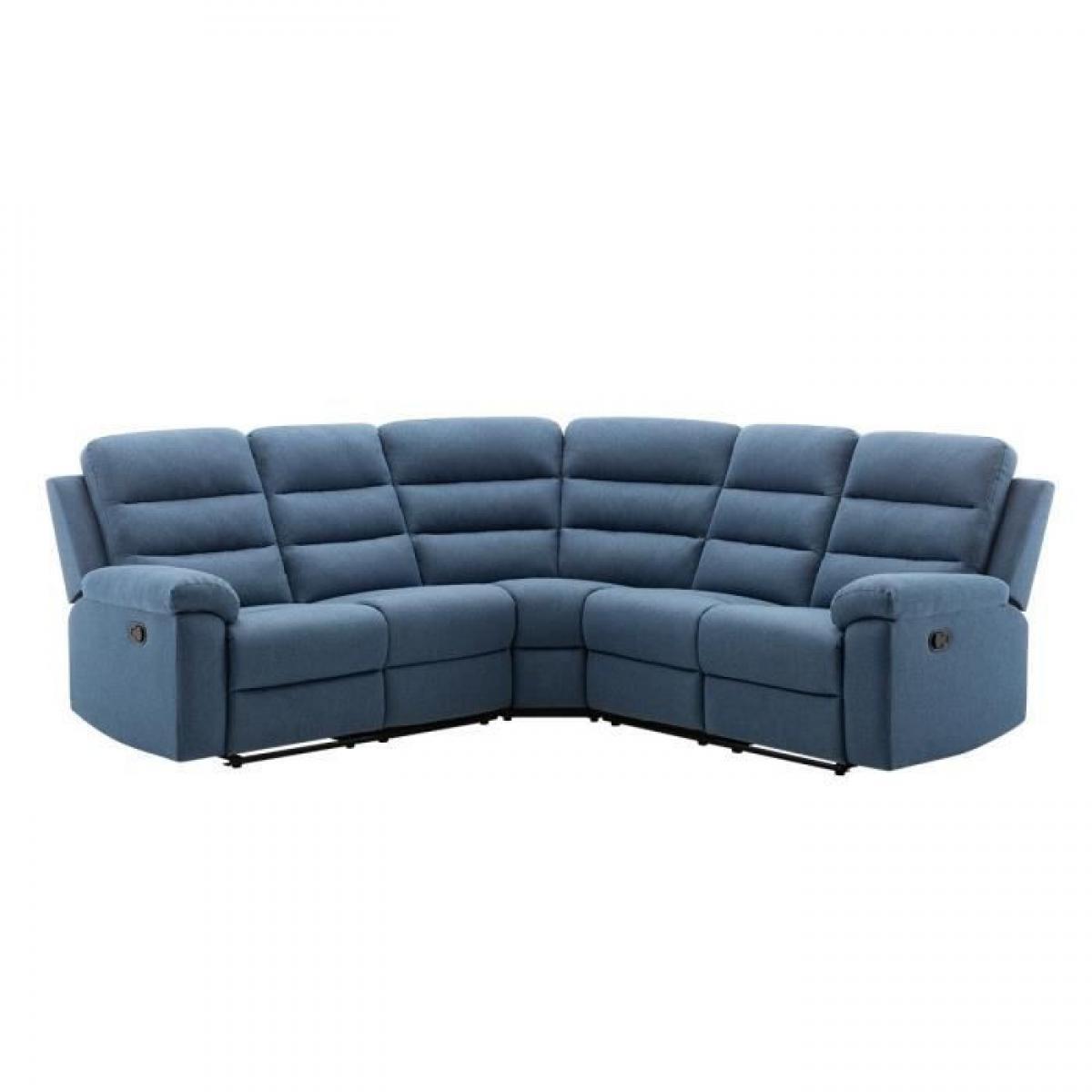 Sans Marque Canape dangle avec 2 places relax manuels - Tissu bleu - L 230 x P 55 x H 100 cm - AUGUST