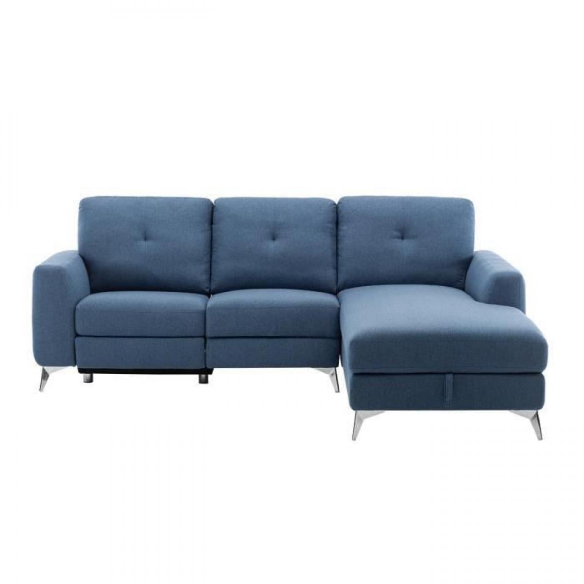 Sans Marque Canape dangle droit avec 1 place relax electrique + coffre - Tissu Bleu - L 260 x P 51 x H 90 cm - FRANKLIN