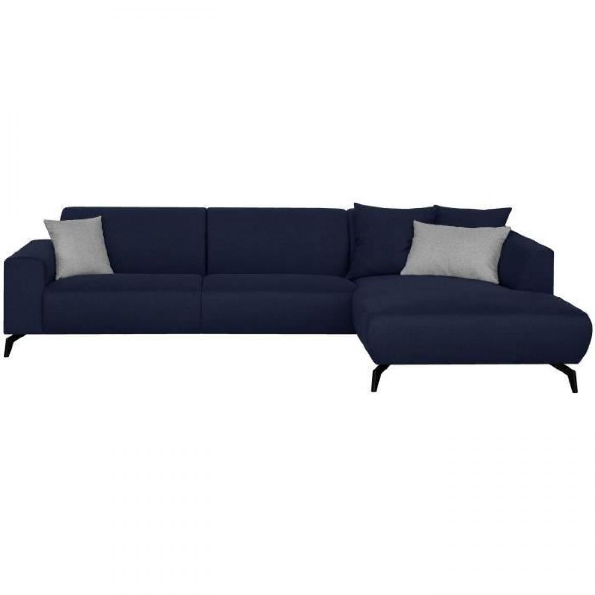 Sans Marque Canape dangle droit - Pieds metal - Tissu Bleu - L 290 x P 93/167 x H 74 cm - BUBBLE