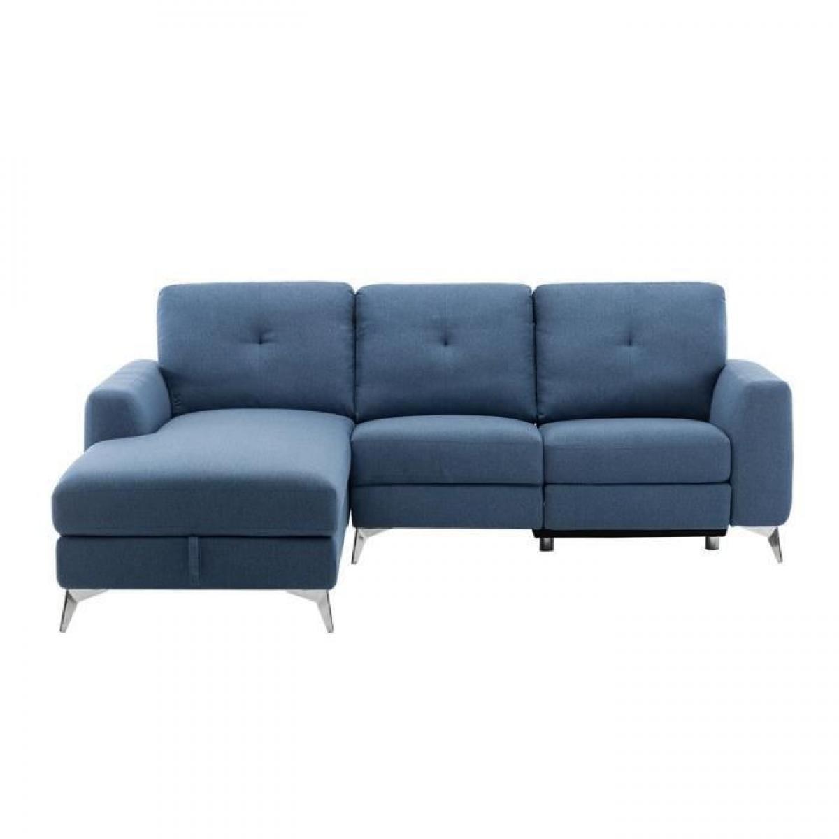 Sans Marque Canape dangle gauche avec 1 place relax electrique + coffre - Tissu Bleu - L 260 x P 51 x H 90 cm - FRANKLIN