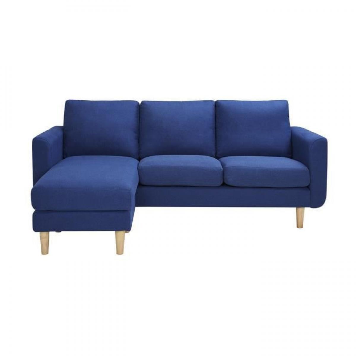 Sans Marque Canape dangle reversible - Tissu Bleu avec pietement en bois naturel - L 197 x P 137 x 83 cm - NOLAN