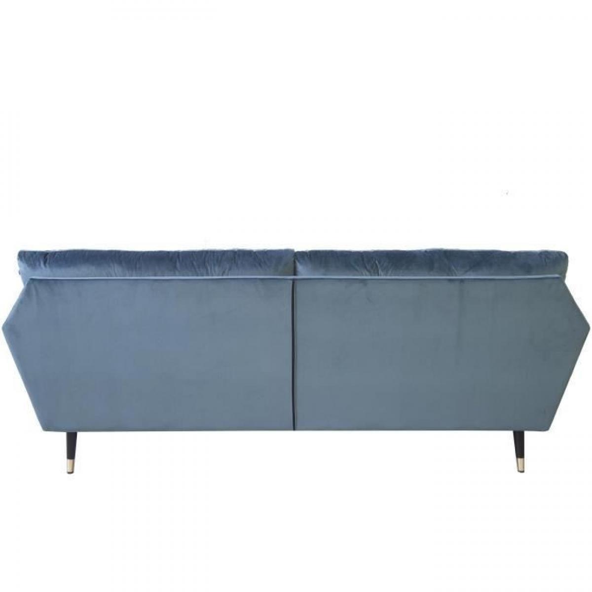 Sans Marque Canape fixe 3 places - Velours bleu - L 207 x P 93 x H 84cm - CALHERN