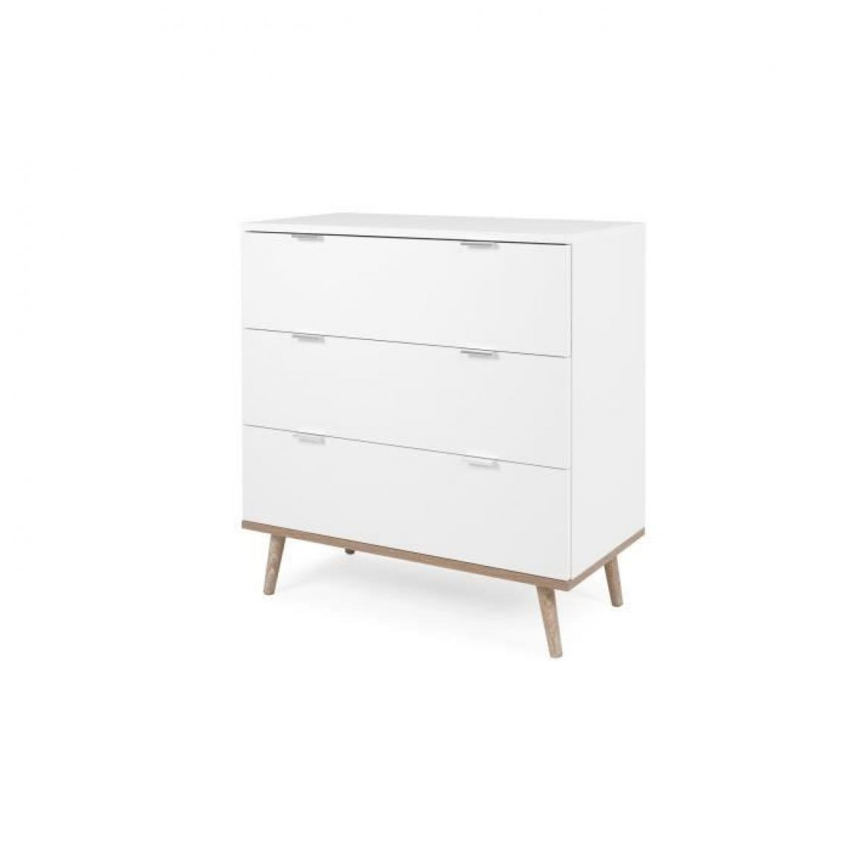 Sans Marque Commode 3 tiroirs - Decor chene sonoma Blanc - L 79,8 x P 40 x H 86,5 cm - GOTEBORG