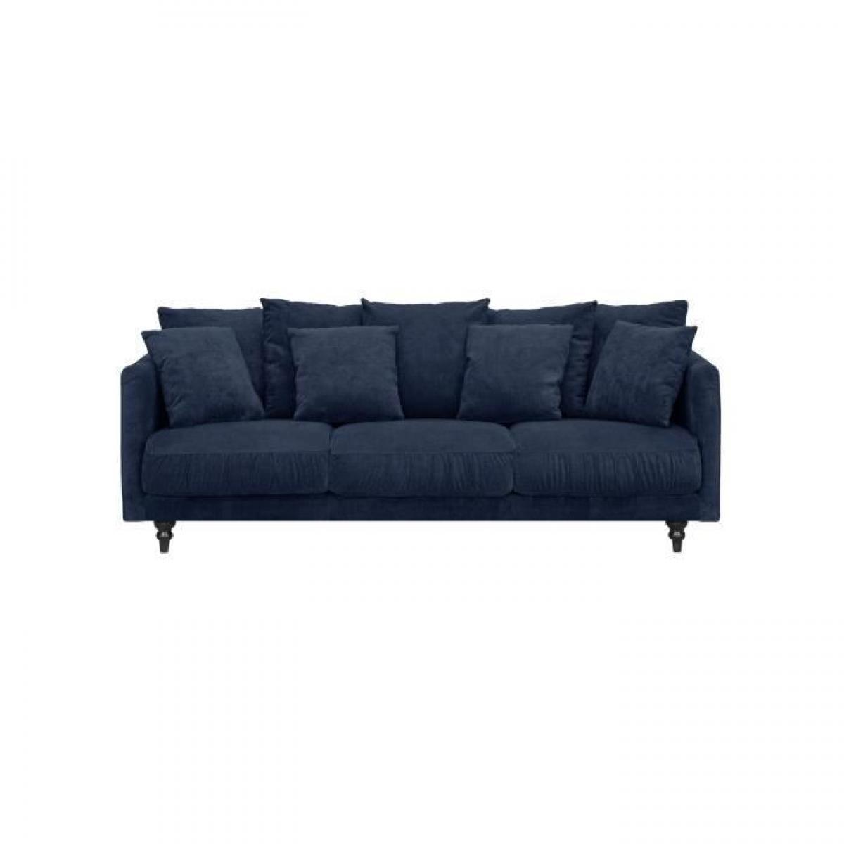 Sans Marque CONSTANCE Canape droit fixe 4 places - Tissu bleu - Classique - L 212 x P 93 cm