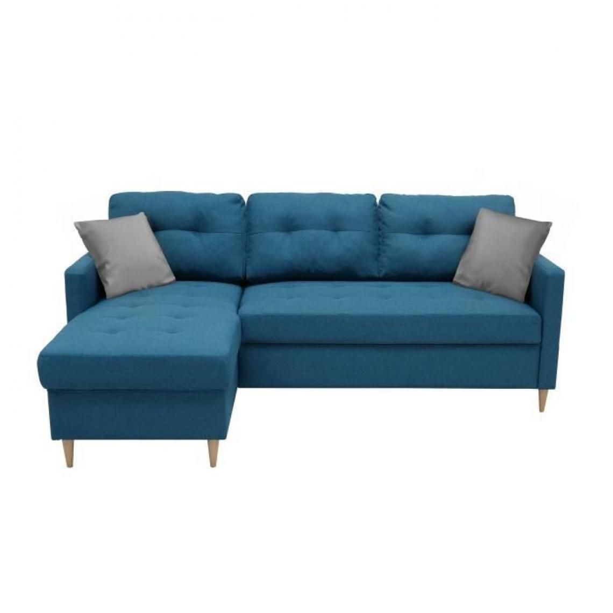 Sans Marque FALSLEV Canape dangle fixe reversible - Tissu bleu - L 215 x P 145 x H 93 cm