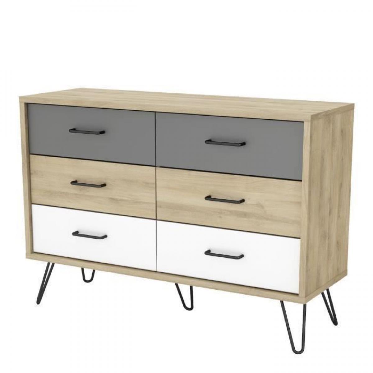 Sans Marque FILEA Commode 6 tiroirs - Decor chene kronberg blanc et gris - L 116,7 x P 42,3 x H 81,5 cm