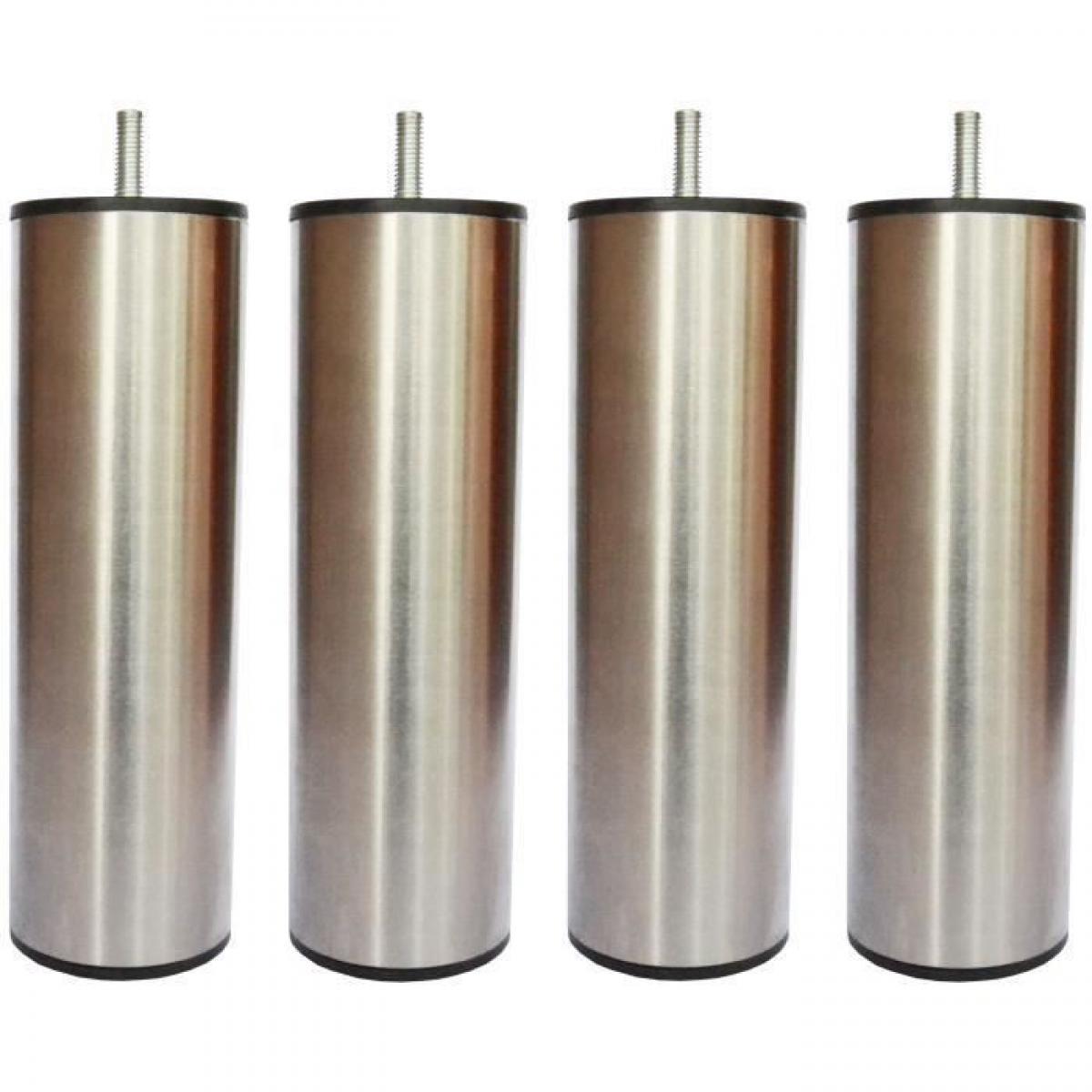 Sans Marque Jeu de pieds cylindriques inox brosse Saturne - L 6 x l 6 x H 24,5 cm - Lot de 4
