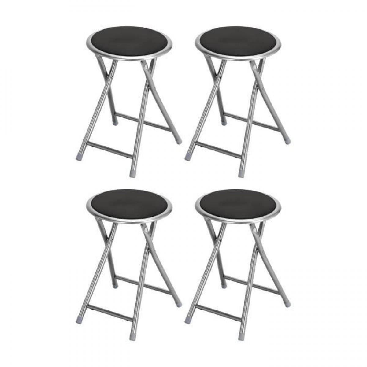 Sans Marque Lot de 4 tabourets pliant noir - Pieds en metal - L 30 x P 30 x H 45 cm - PLUTO