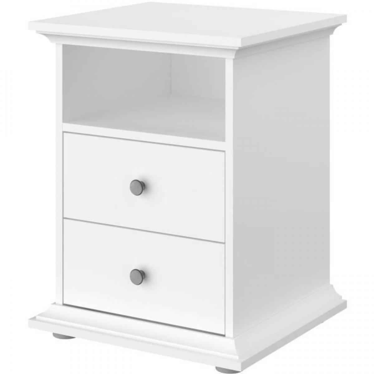 Sans Marque MANON Chevet 2 tiroirs Blanc - L 45 x P 58 x H 41 cm