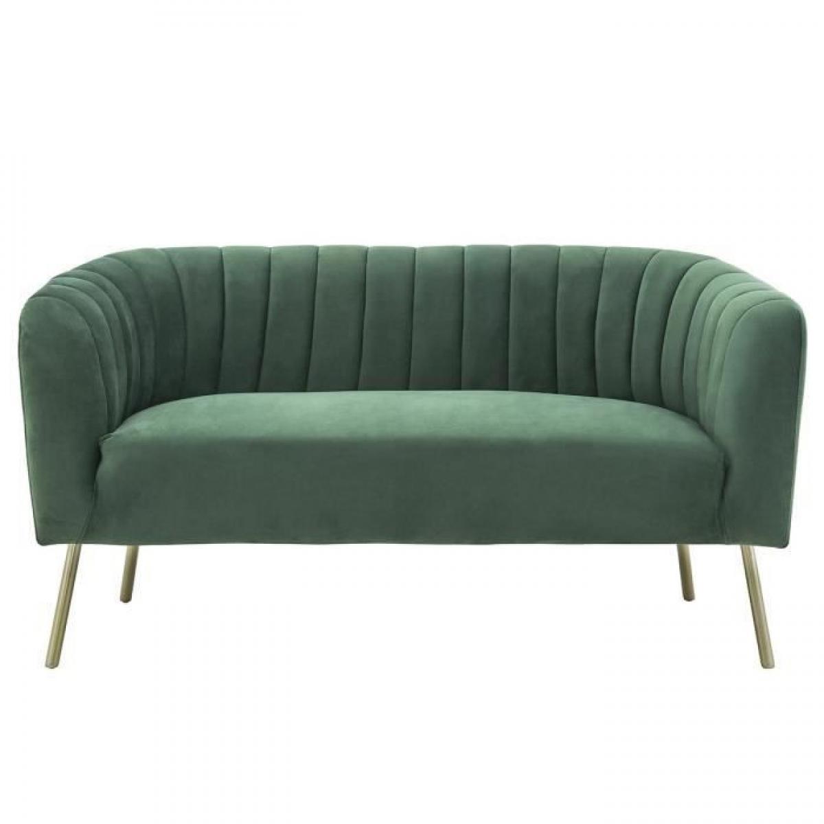 Sans Marque MATHIS Canape retro 2 places - Velours bleu vert et structure bois massif - L 167 x P 70 x H 71 cm