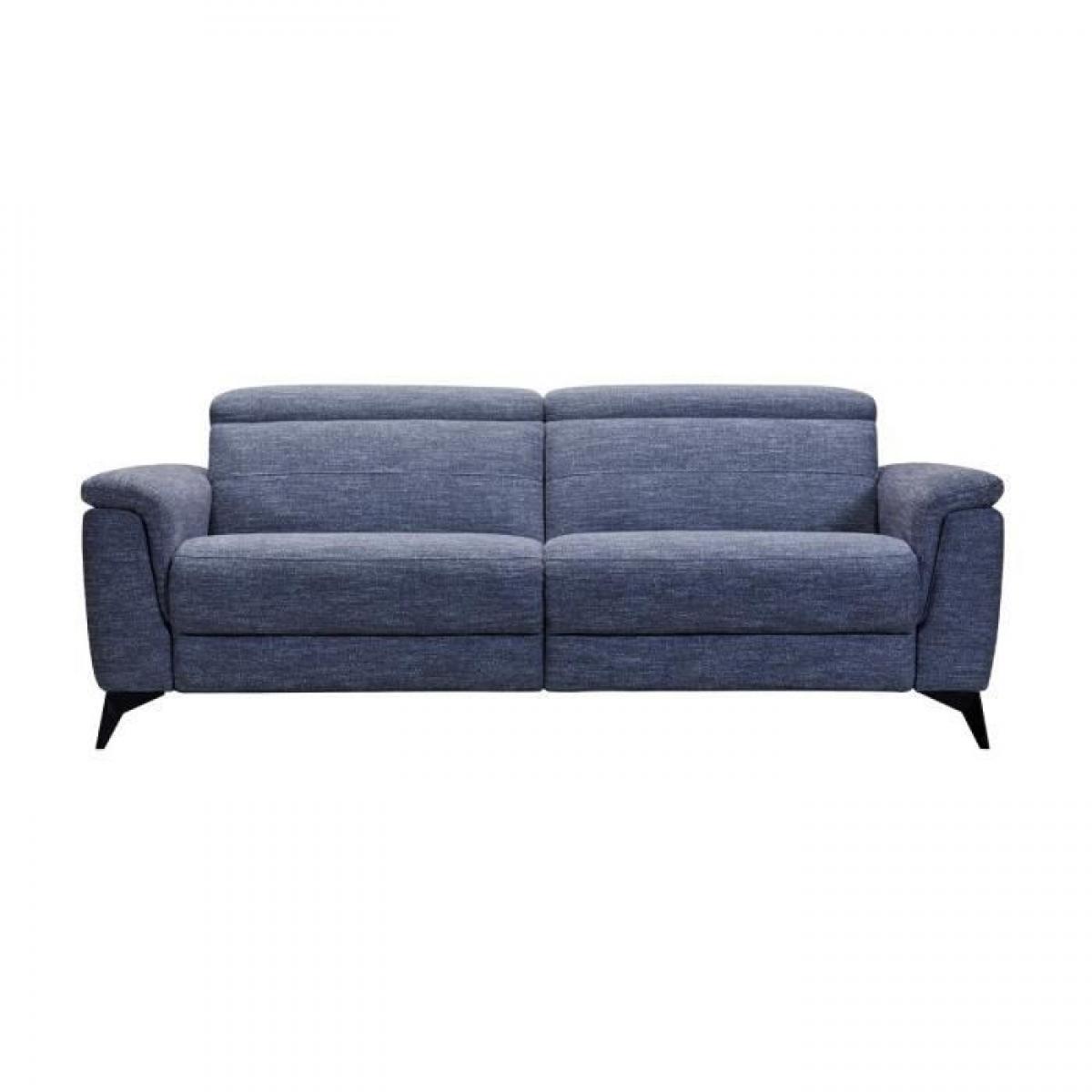 Sans Marque MELBOURNE Canape 3 places avec 2 relax electrique - Tissu bleu clair - L 208 x P 108 x H x 79 cm
