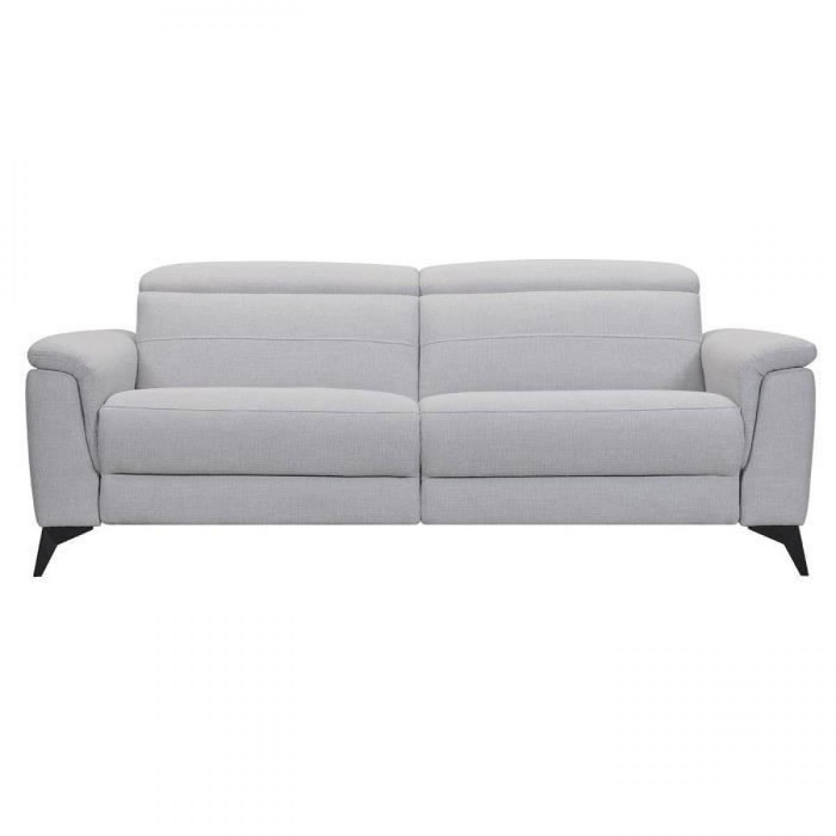 Sans Marque MELBOURNE Canape 3 places avec 2 relax electrique - Tissu bleu gris - L 208 x P 108 x H x 79 cm