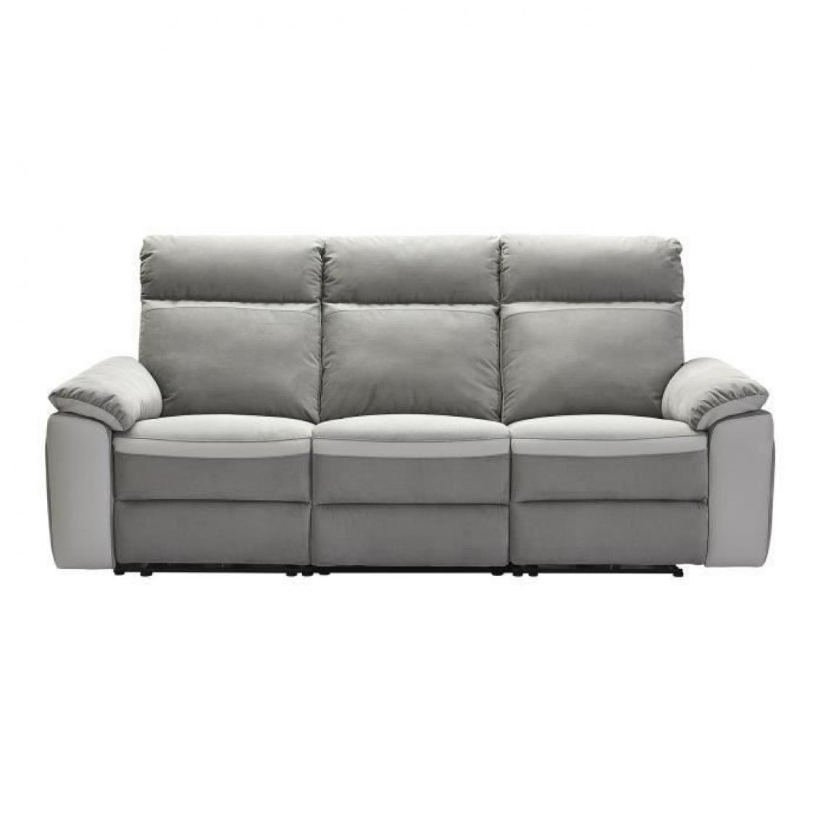 Sans Marque SANTOS Canape 3 places avec 2 assises electriques - Tissu gris et anthracite - L 215 x P 93 x H 99 cm