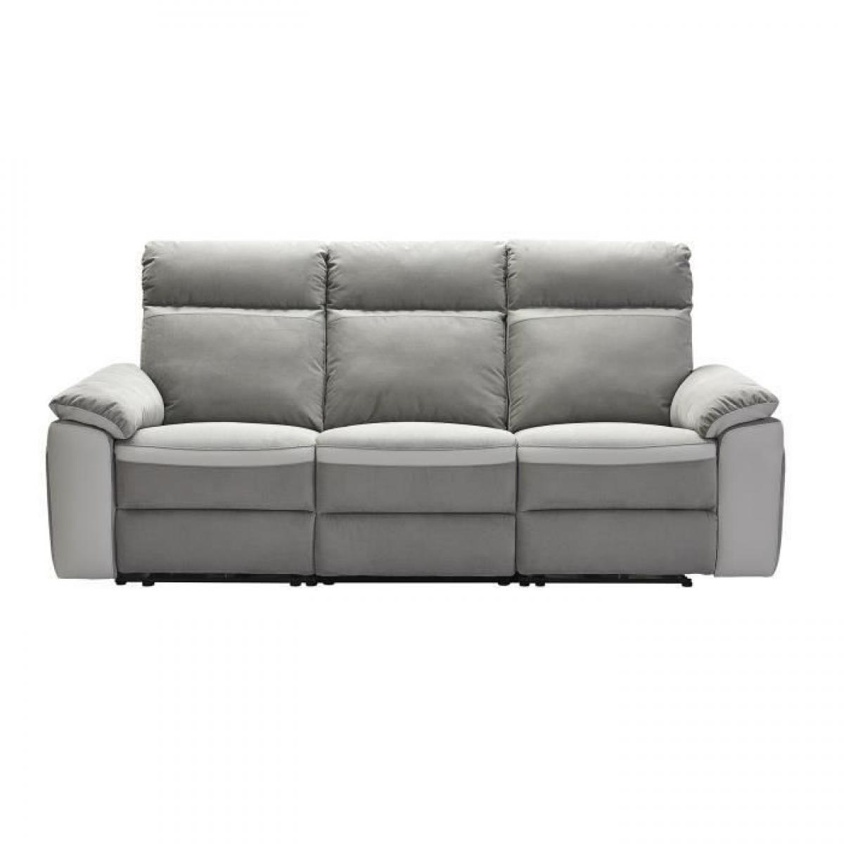 Sans Marque SANTOS Canape 3 places avec 2 assises manuels - Tissu gris et anthracite - L 215 x P 93 x H 99 cm