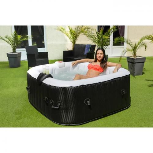 Sans Marque - SUN SPA Spa gonflable carre Laminee - 4 personnes - 1, 55 x H 0, 65 m - Spa gonflable