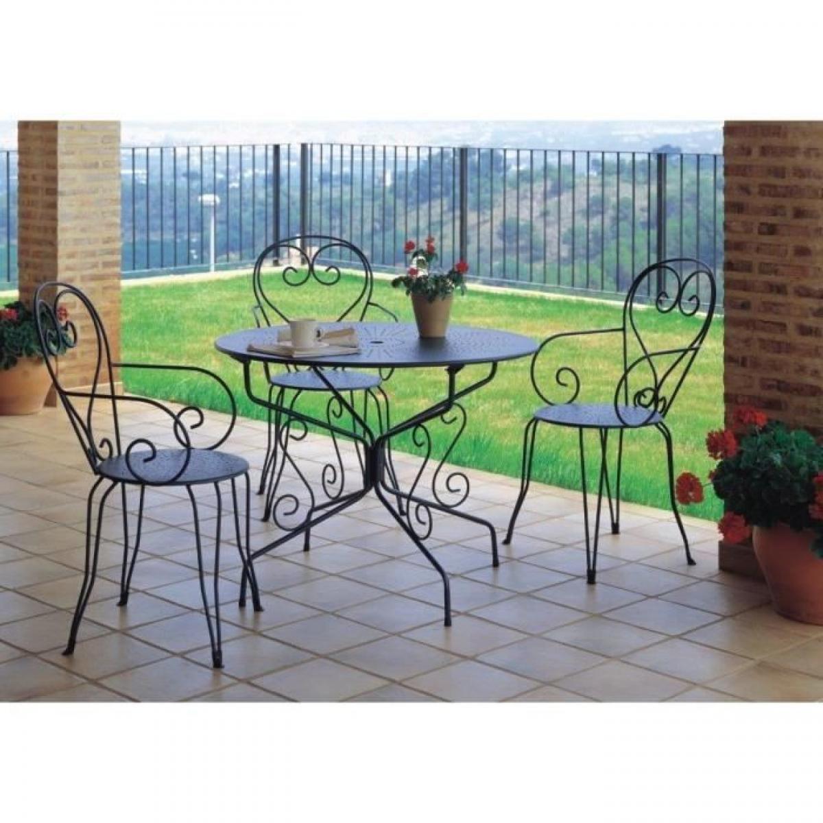 Sans Marque Table De Jardin Romantique En Fer Forge Avec Trou Central Pour Parasol - 95 Cm - Vert/gris