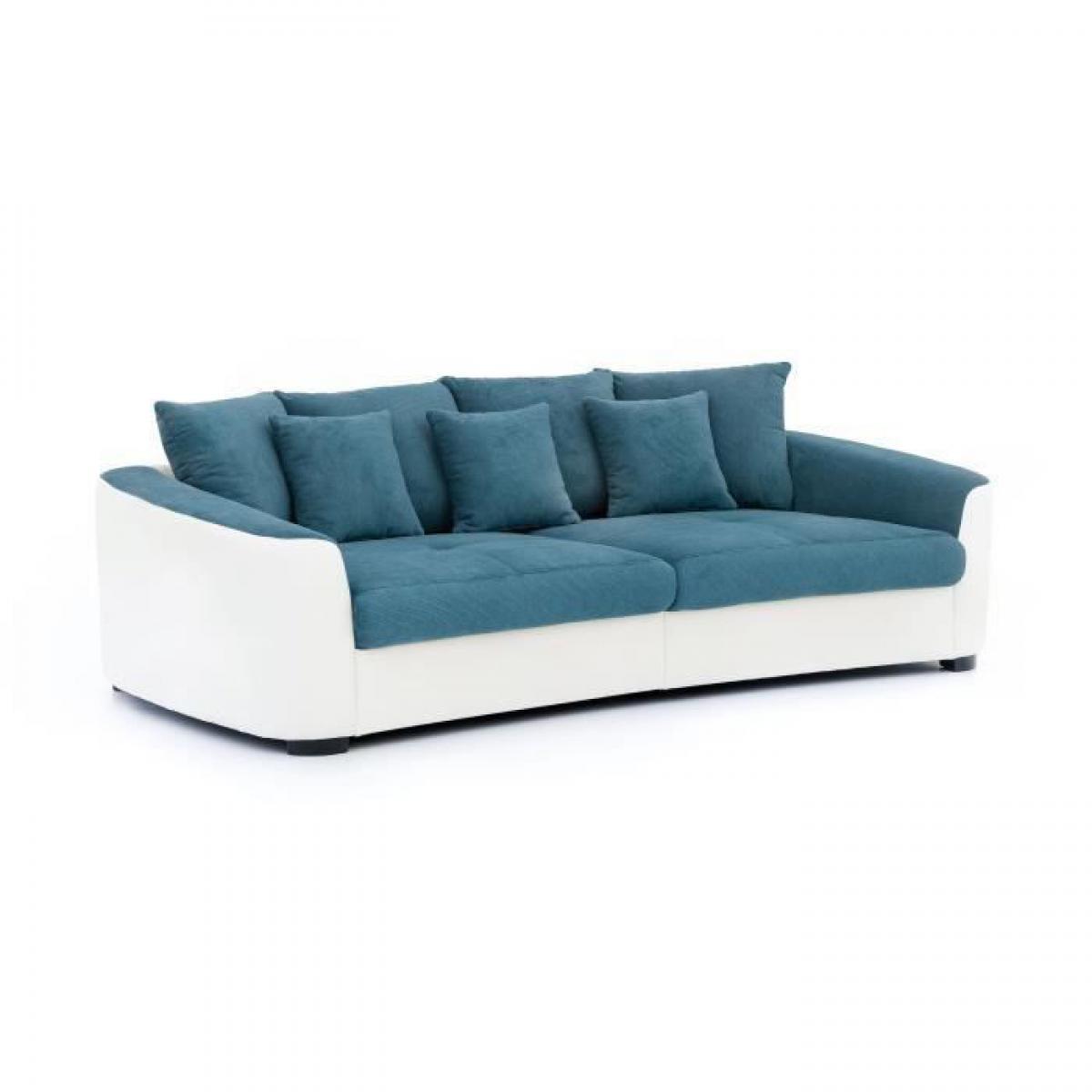 Sans Marque TAHITI MEGASOFA Canape droit 4 places + 3 coussins de deco - Simili et tissu bleu et blanc - L 242 x p 129 x H 84 cm