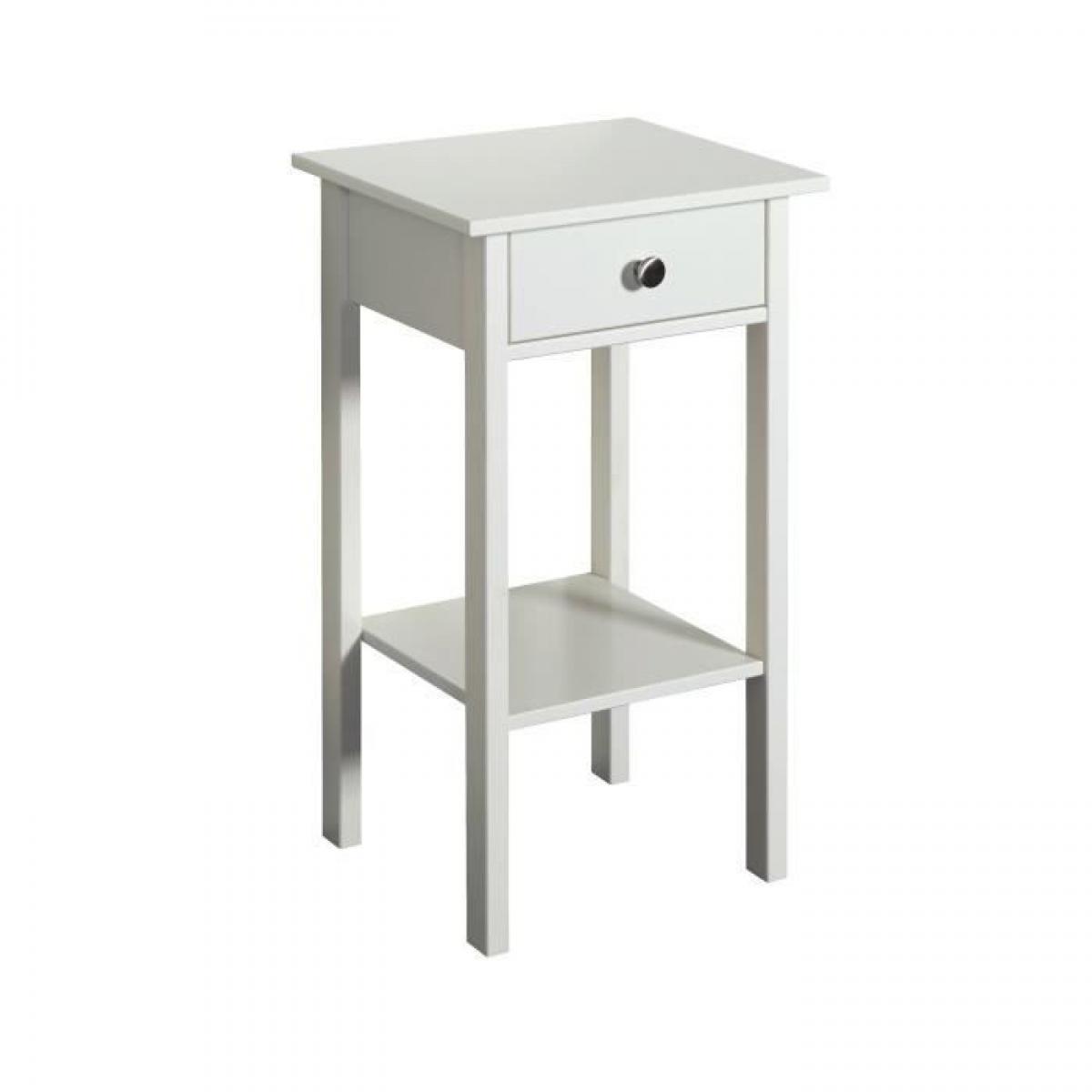 Sans Marque TROMSO Chevet 1 tiroir - Laque blanc MDF - L 40 x P 35,5 x H 70 cm