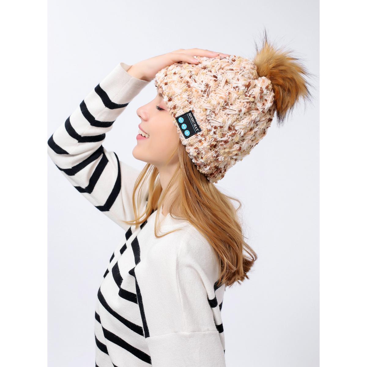 Shot Bonnet Bluetooth avec Pompon pour SAMSUNG Galaxy A40 Smartphone avec Ecouteurs Integres Reglage Boutons Hiver (BEIGE)
