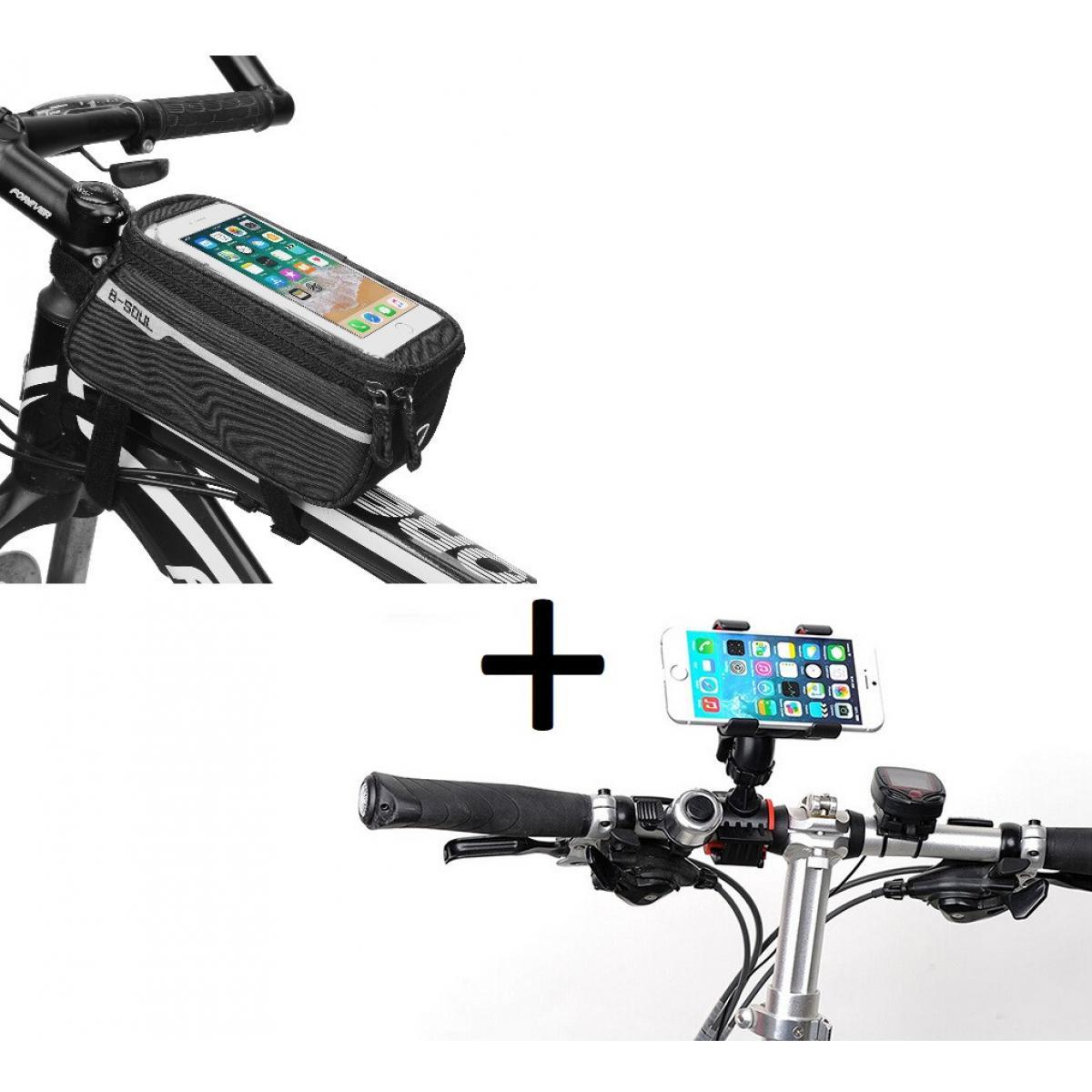 Shot Pack Velo pour OPPO Find X2 Lite Smartphone (Support Velo Guidon + Pochette Tactile) VTT Cyclisme (NOIR)