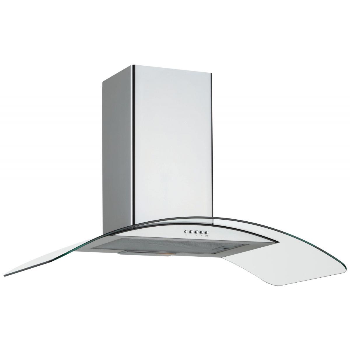 Silver Hotte décorative 253m³/h SILVER 90cm D, H 10590 015