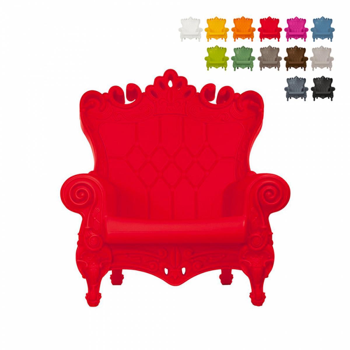 Slide Fauteuil Trône Design Moderne Slide Queen Of Love, Couleur: Rouge