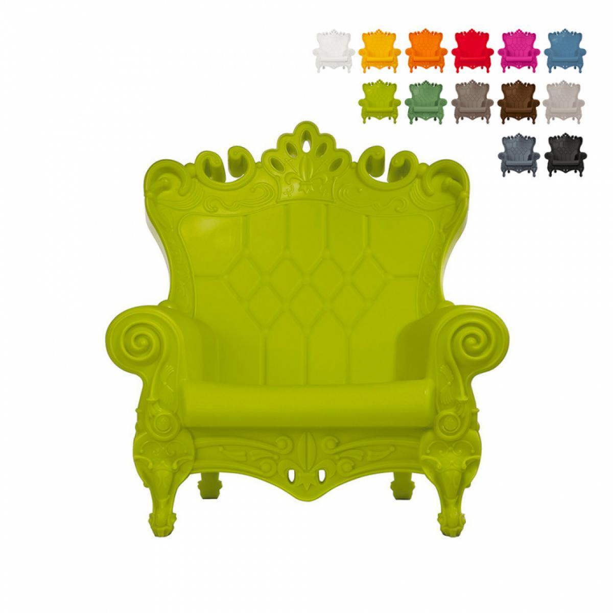 Slide Fauteuil Trône Design Moderne Slide Queen Of Love, Couleur: Vert foncé