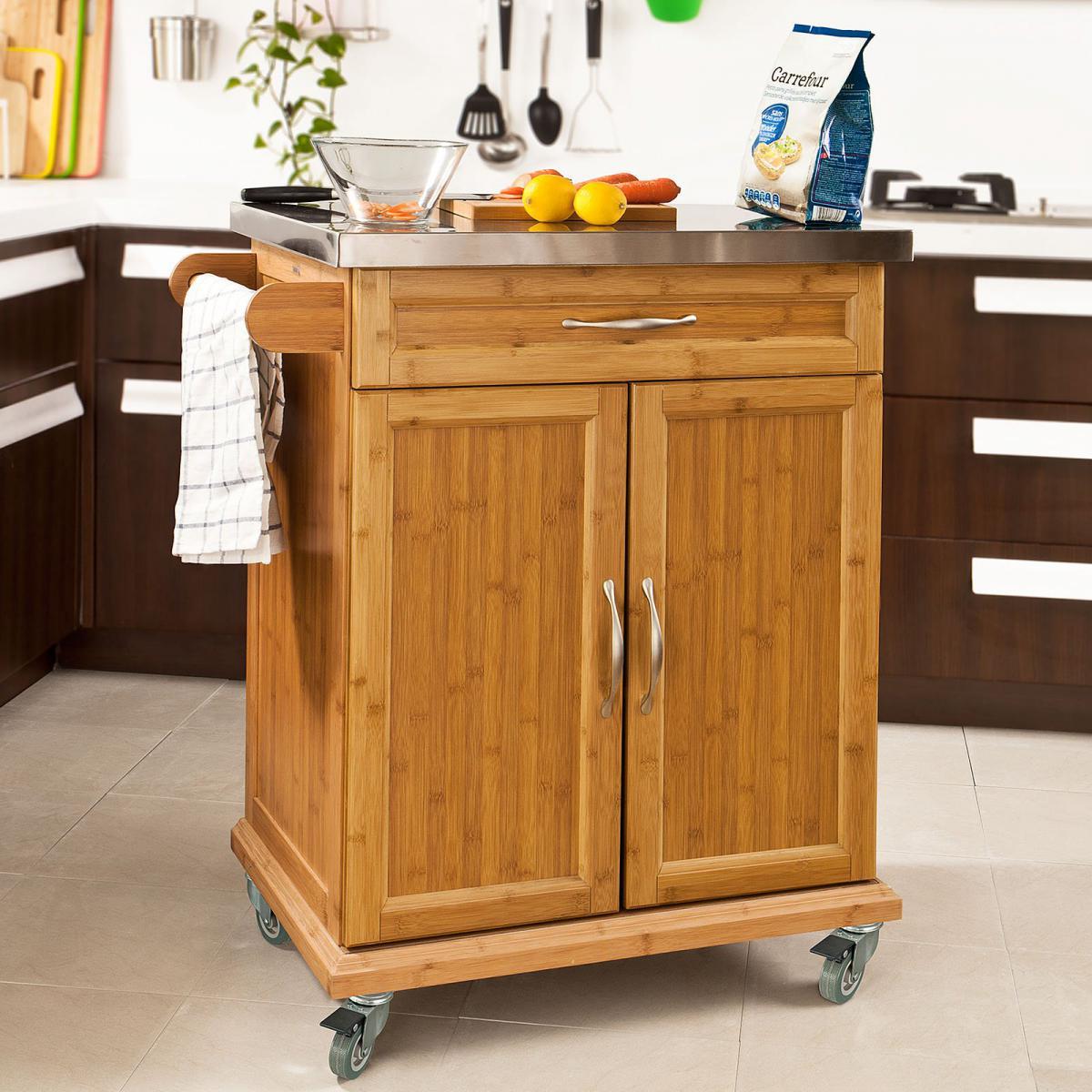 Sobuy SoBuy® FKW13-N Desserte Chariot de cuisine de service roulant, Meuble Armoire de rangement