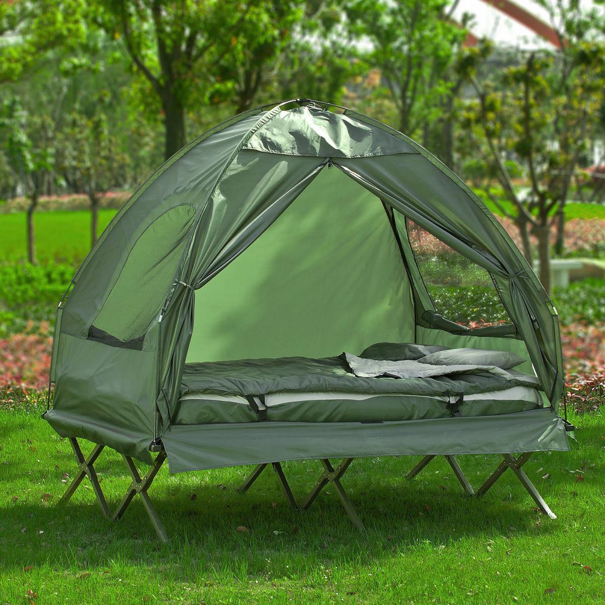 Sobuy SoBuy® OGS32-L-GR 4-in-1! 2 Places Lit Pliant Lit de Camp Pliable Voyage Camping avec Toit, Sac de Couchage