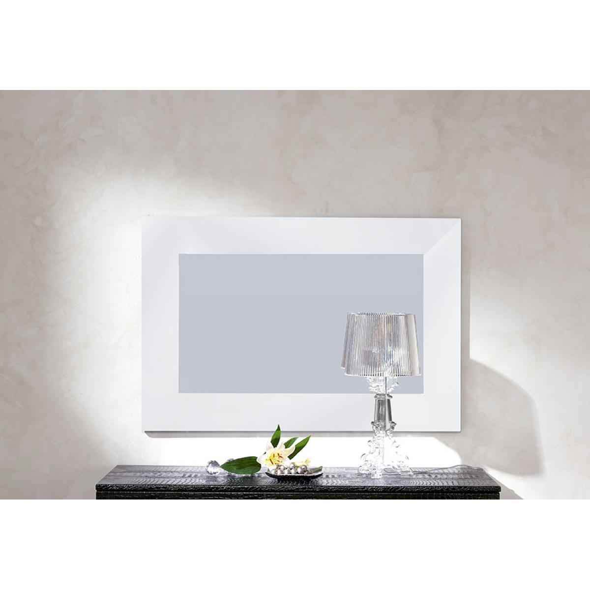 Sofamobili Miroir mural blanc noir ou gris laqué design RAMSAY