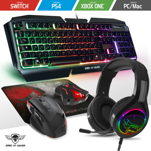 Spirit Of Gamers - Pack RGB Clavier, souris, casque, tapis pour gamer console Compatible PS4 / Xbox one / Xbox serie S|X / Switch / PC - Pack Clavier Souris