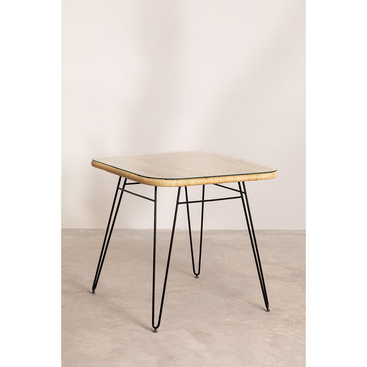 Stylez Table rotin verre metal